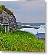 Viking House On Fishing  Point In Saint Anthony-nl Metal Print