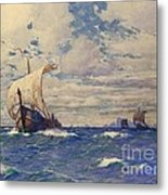 Viking Ships At Sea Metal Print by Pg Reproductions