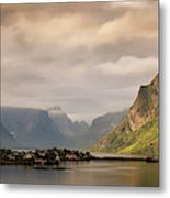 Village And Fjord Among Mountains Metal Print