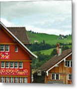 Hotel Santis And Hillside Of Appenzell Switzerland Metal Print