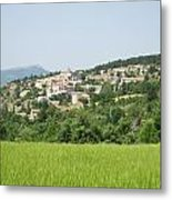 Village Beyond The Wheat Field Metal Print