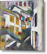 Village Corner Metal Print by Becky Kim