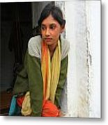 Village Girl India Metal Print