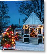 Village Green Holiday Greetings- New Milford Ct - Metal Print