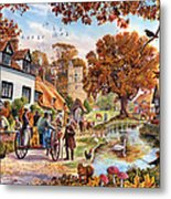 Village In Autumn Metal Print