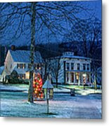 Village Of New Milford - Winter Panoramic Metal Print by Thomas Schoeller