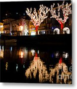 Village Reflected In The Water Metal Print