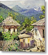 Village Scene In The Mountains Metal Print