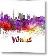 Vilnius Skyline In Watercolor Metal Print