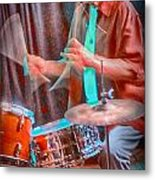 Vince Lateano On Drums Metal Print
