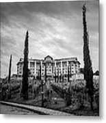 Vineyards And Chateau-bw Metal Print