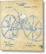 Vintage 1869 Velocipede Bicycle Patent Artwork Metal Print