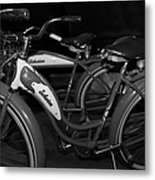 Vintage 1941 Boys And 1946 Girls Bicycle 5d25760 Black And White Metal Print by Wingsdomain Art and Photography