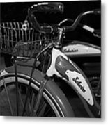 Vintage 1941 Boys And 1946 Girls Bicycle 5d25760 Square Black And White Metal Print by Wingsdomain Art and Photography