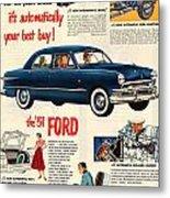 Vintage 1951 Ford Car Advert Metal Print