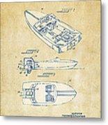 Vintage 1972 Chris Craft Boat Patent Artwork Metal Print