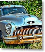 Vintage American Car In Yard Metal Print