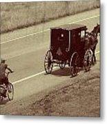 Vintage Amish Buggy And Bicycle Metal Print