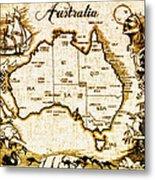 Vintage Australia Map Metal Print
