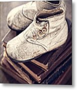 Vintage Baby Boots And Books Metal Print