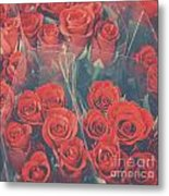 Vintage Background Of Roses In Bouquet Metal Print