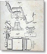 Vintage Barber Chair Patent Metal Print