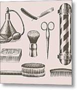 Vintage Barbershop Objects Metal Print