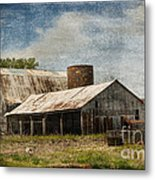 Barn -vintage Barn With Brick Silo - Luther Fine Art Metal Print