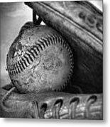 Vintage Baseball And Glove Metal Print