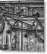 Vintage Bicycle Built For Two In Black And White Metal Print