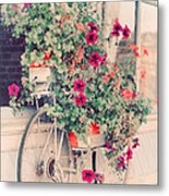 Vintage Bicycle Flowers Photograph Metal Print by Elle Moss