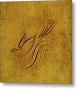 Vintage Bird On Gold Metal Print