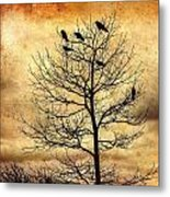 Vintage Blackbirds On A Winter Tree Metal Print