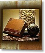Vintage Book Fossil And Carved Orb Metal Print