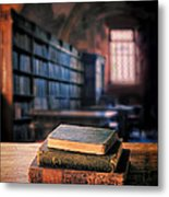 Vintage Books And Glasses In An Old Library Metal Print