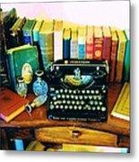 Vintage Books And Typewriter Metal Print