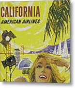 Vintage California Travel Poster Metal Print