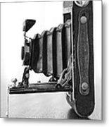 Vintage Camera - Black And White Metal Print