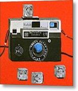 Vintage Camera With Flash Cube Metal Print