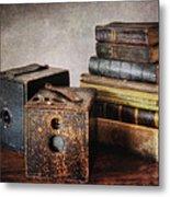 Vintage Cameras And Books Metal Print