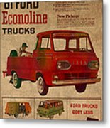 Vintage Car Advertisement 1961 Ford Econoline Truck Ad Poster On Worn Faded Paper Metal Print
