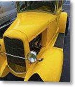 Vintage Car Yellow Metal Print