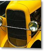 Vintage Car Yellow Detail Metal Print