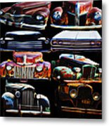 Vintage Cars Collage 2 Metal Print