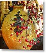 Vintage Ceramic Urn Metal Print by Linda Phelps