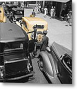Vintage Checker Cabs Metal Print
