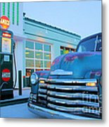 Vintage Chevrolet At The Gas Station Metal Print