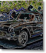 Vintage Chevy Corvette Black Neon Automotive Artwork Metal Print