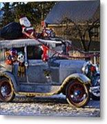 Vintage Christmas Car Metal Print