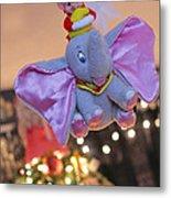 Vintage Christmas Elf Flying With Dumbo Metal Print